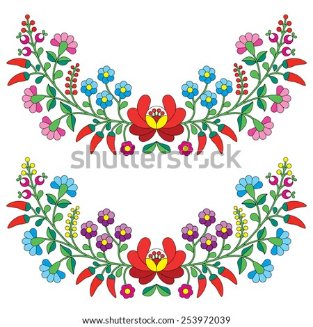 Hungarian floral folk pattern - Kalocsai embroidery with flowers and paprika  - stock vector
