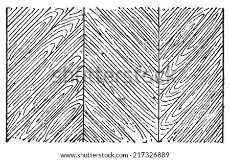 Hungarian Point Parquet, vintage engraved illustration. Dictionary of words and things - Larive and Fleury - 1895. - stock vector
