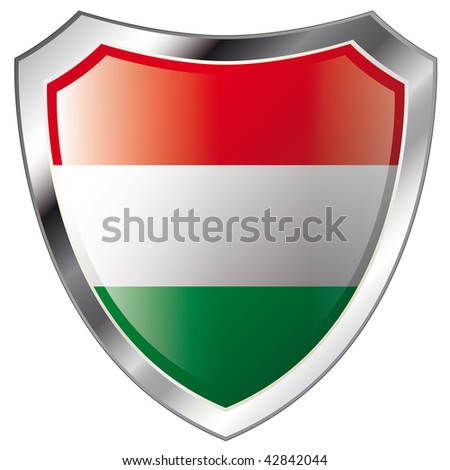 hungary flag on metal shiny shield vector illustration. Collection of flags on shield against white background. Abstract isolated object.