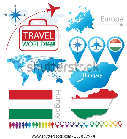Hungary flag world map travel vector stock vector 157857974 hungary flag world map travel vector illustration gumiabroncs Images