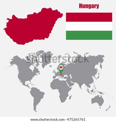 Hungary map on world map flag stock vector 2018 475265761 hungary map on a world map with flag and map pointer vector illustration gumiabroncs Images