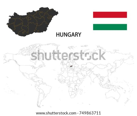 hungary map on a world map with flag on white background