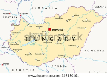 Hungary Political Map With Capital Budapest National Borders Important Cities Rivers And Lakes