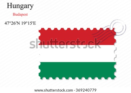 hungary stamp design over stripy background, abstract vector art illustration, image contains transparency