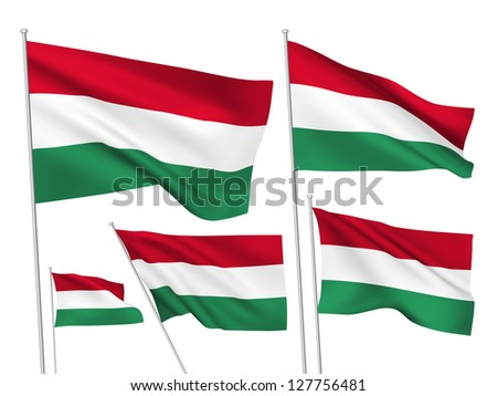 Hungary vector flags. A set of 5 wavy 3D flags created using gradient meshes - stock vector