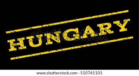 Hungary watermark stamp. Text caption between parallel lines with grunge design style. Rubber seal stamp with dust texture. Vector yellow color ink imprint on a blue background.