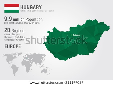 Hungary world map with a pixel diamond texture. World geography. - stock vector