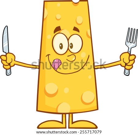 Hungry Cheese Cartoon Character With Knife And Fork. Vector Illustration Isolated On White - stock vector