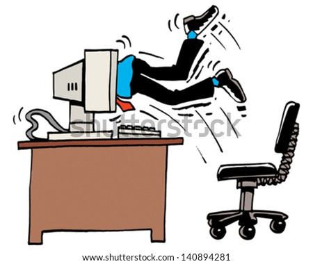 Hungry Computer - stock vector