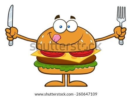 Hungry Hamburger Cartoon Character With Knife And Fork. Vector Illustration Isolated On White - stock vector