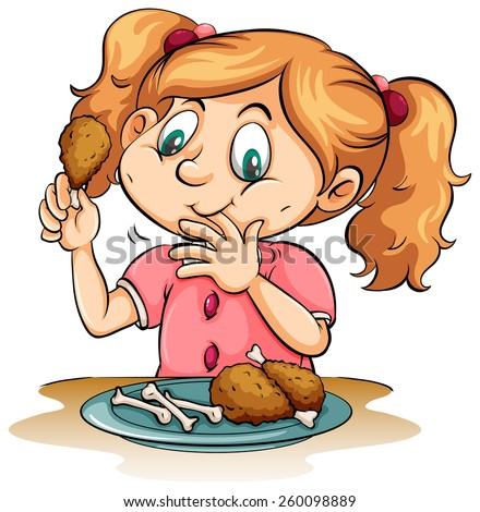 Hungry little girl eating chicken on a white background - stock vector
