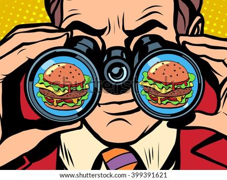 hungry man wants a Burger - stock vector