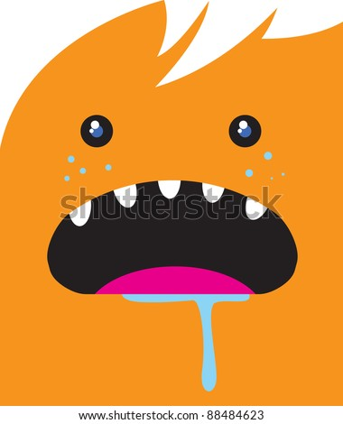 Hungry Monster Face - stock vector