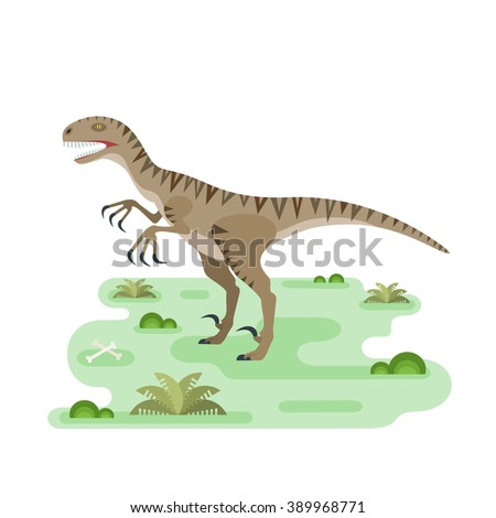 Hungry Utahraptor. Prehistoric carnivore dinosaur. Agressive spiny lizard. Small location pristine landscape useful for map or game. Extinct animal. Flat vector illustration. - stock vector