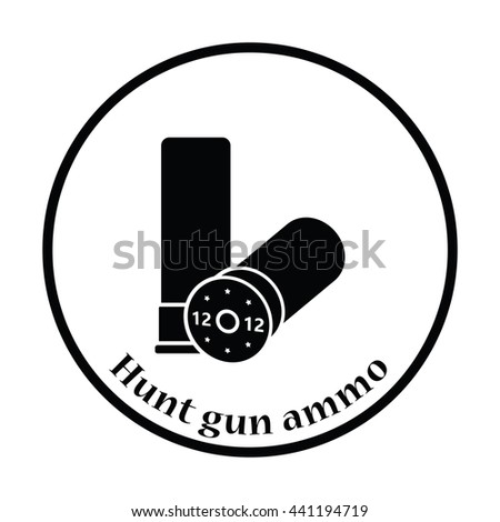 Hunt gun ammo icon. Thin circle design. Vector illustration. - stock vector