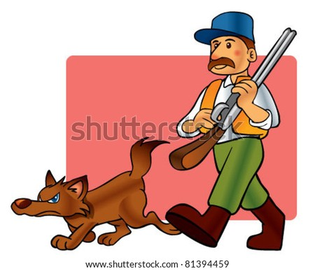 hunter and dog - stock vector