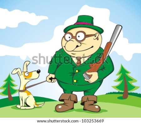 hunter and hound - stock vector