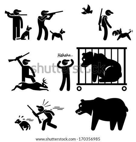 Hunter and Hunting Dog Stick Figure Pictogram Icon - stock vector