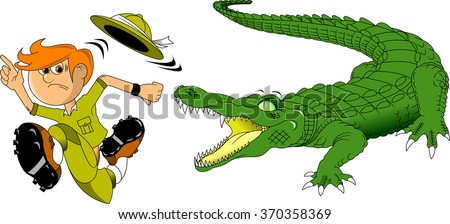 Hunter escapes from a huge scary crocodile, vector - stock vector