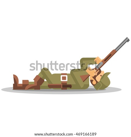 Hunter in camouflage green ammunition. Hunting. Isolated vector illustration.