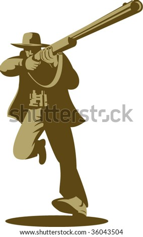Hunter running and aiming a rifle at you - stock vector