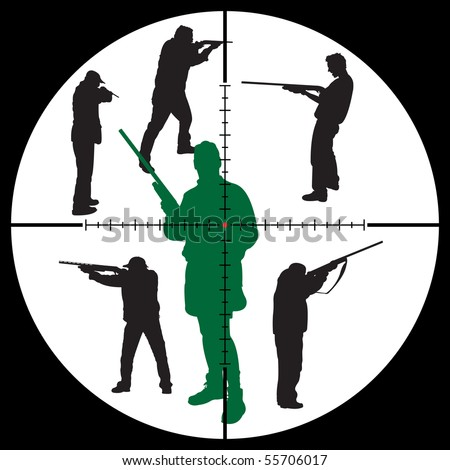 Hunter's silhouettes and sniper sight for you design, vector illustration - stock vector