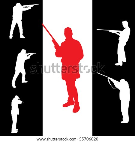 Hunter's silhouettes for you design, vector illustration - stock vector