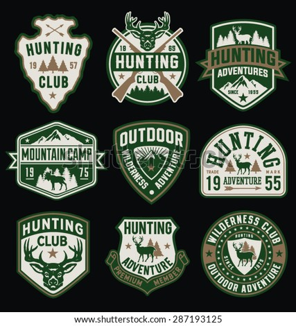 Hunting and Outdoor themed badges and emblem collection - stock vector