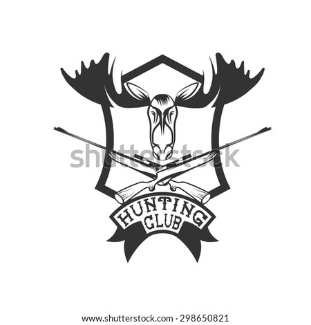 hunting club crest with carbines and elk - stock vector
