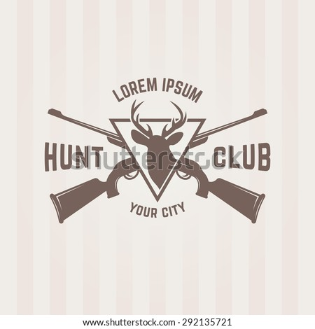 Hunting club isolated vector emblem template, two crossed hunting rifle and silhouette of a deer - stock vector
