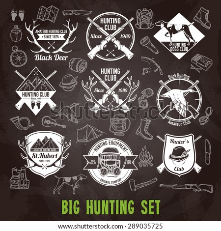Hunting club labels and icons chalkboard set isolated vector illustration - stock vector