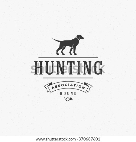 Hunting Club Logo Template. Dog Silhouette Isolated On White Background. Vector object for Labels, Badges, Logos and other Design. Dog Logo, Hunter Logo, Dog Hunting, Dog Icon, Dog Silhouette. - stock vector
