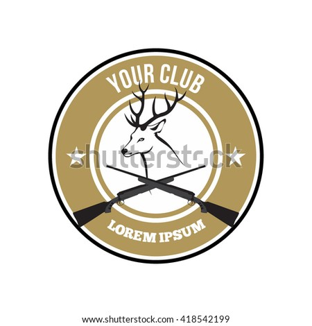 Hunting Club Logo Template. Wild Animal Head vector illustration Isolated, Vector object. Outdoor activities logo design