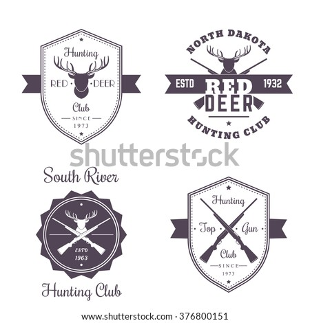 Hunting club vintage logo, badges, emblems with crossed hunting rifles, deer head, isolated on white, vector illustration - stock vector