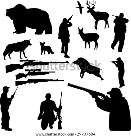 hunting collection silhouettes - vector - stock vector
