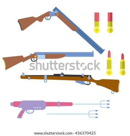 hunting equipment set with underwater speargun, gun and rifle vector illustration, in flat style, for sport, adventure, army and safari design - stock vector