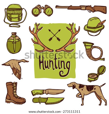 Hunting hand drawn icons set with dog weapon deer horns isolated vector illustration - stock vector