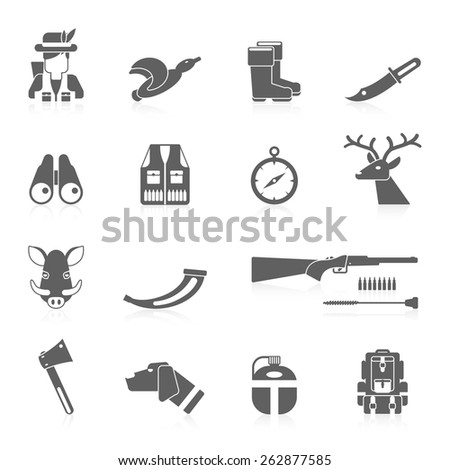 Hunting icon black set with vest horn rifle flask isolated vector illustration - stock vector