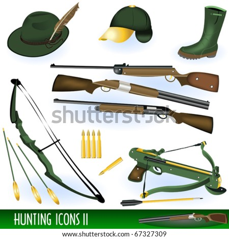 Hunting icons 2 - stock vector