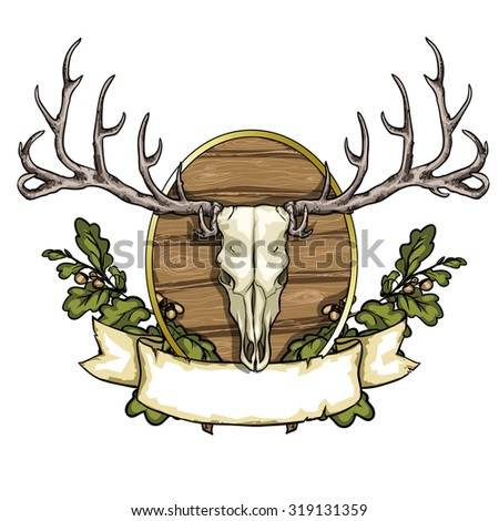 Hunting label with deer skull isolated on white - stock vector