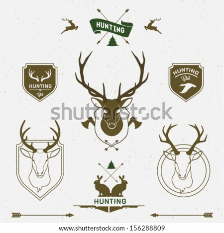 Hunting labels set - stock vector