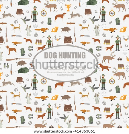 Hunting pattern. Dog hunting, equipment. Flat style. Vector illustration