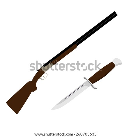 Hunting rifle and knife vector set, hunter weapon, hunter equipment - stock vector