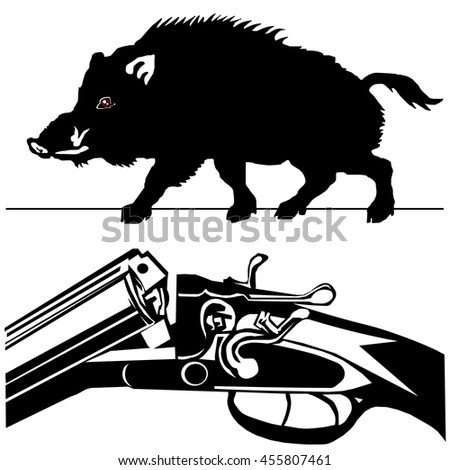 hunting rifle with wild boar pig black silhouette on the white background vector EPS10 - stock vector