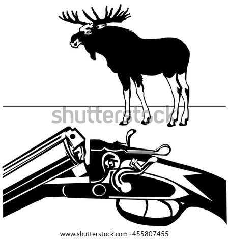 hunting rifle with wild moose black silhouette on the white background vector EPS10 - stock vector
