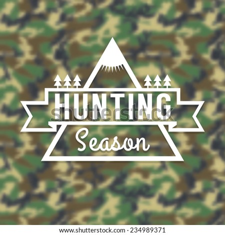 Hunting Season Insignia Logo on Blurred Camouflage Background. Vector Illustration. - stock vector