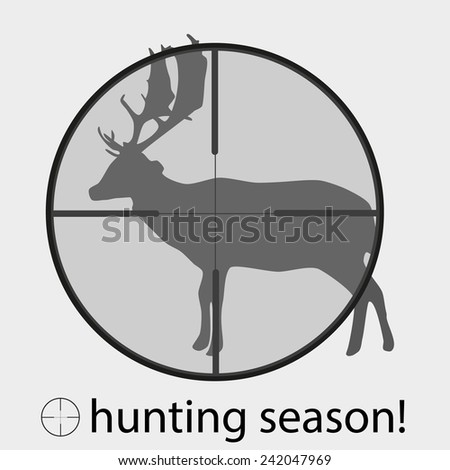 hunting season with deer in gun sight eps10 - stock vector