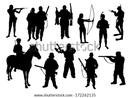 Hunting set - stock vector