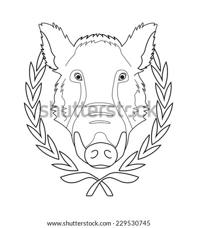 Hunting trophy. Feral taxidermy wild boar head with big tusks in laurel wreath. Contour lines vector illustration isolated on white - stock vector