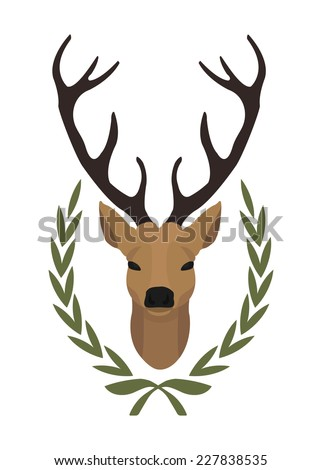 Hunting trophy. Stuffed taxidermy deer head with big antlers in laurel wreath. Color vector illustration isolated on white. No outline - stock vector